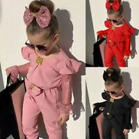 Toddler Baby Kid Girl Lace Flare Sleeve Bow Jumpsuit Romper+Headband Clothes Set