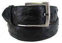 Men's Genuine Ostrich Skin Cowboy Western Rodeo Style Belt Black
