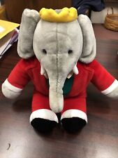 "Rare Vintage Gund King Babar Elephant Plush Red Tuxedo 1988 Children Show 14"""
