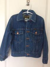 VTG WRANGLER Kids Denim Jean Jacket Made in USA Sz 8