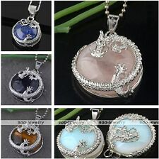 1pc Silvery Dragon Wrap Gemstone Round Pendant Bead For Necklace Chain DIY Gift