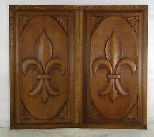 """French Antique Hand Carved Two Oak Wood Panels Sculpture Fleur de Lys 16"""" x 9"""" T"""