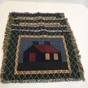 """4 House Quilt Motif Placemats Tapestry 16"""" x 12"""""""