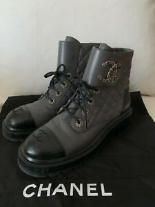 CHANEL LEATHER QUILTED LACE UP BOOTS W/ LOGO TOE CAP (SOLD OUT RARE COL - EU 39)
