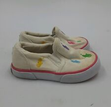 Polo Ralph Lauren Baby Toddler Girls Canvas Slip On Sneakers Kids Size 5 US Pink