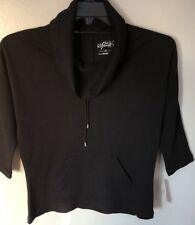 Style & Co Sport Women's Black 3/4 Sleeve Cowl Neck Stretch Knit Top Size PS NWT