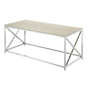 Convenience Concepts Belaire Coffee Table, Chrome/Weathered White - 132282