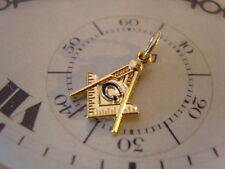 SUPERB MASONIC 12CT GOLD PLATED & ROYAL BLUE ENAMEL POCKET WATCH CHAIN FOB.