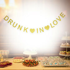 DRUNK IN LOVE Banner Party Decorations Bunting Gold Glitter Letter Hanging Card