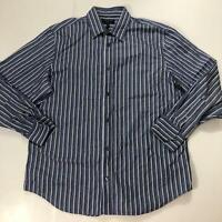 Banana Republic Men's Size XL Dusty Blue, White, Navy Stripe Button Down Shirt