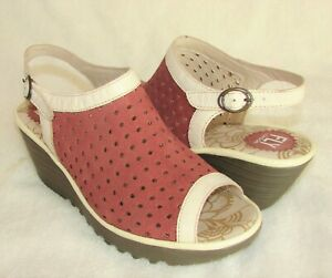 FLY London SlingBack Wedge Red Heel Peep Toe Perforated Sandals Size: 39/8-8.5