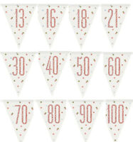 9ft Rose Gold Glitz Flag Banner Bunting Birthday Party Decorations 13th-100th