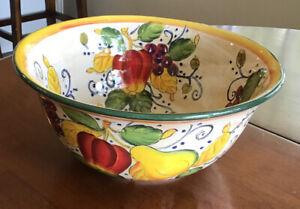 "Beautiful Painted Fruit Bedecked Ceramic Serving Bowl 12"" Diameter"