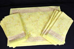 New Zina Vasi 8 Placemats & 8 Napkins Yellow Paisley Best Offers Considered