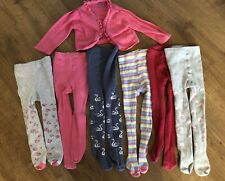 Baby Girl Tights Bundle 6 Pairs Size 12-18 Months & Pink Cardigan