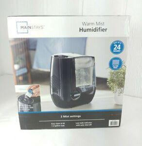 Mainstays Black Warm Mist Humidifier 1.5 Gallon Filter Free Medicine Tray New