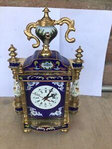 Antique French Enamel Cloisonne Champleve Brass Mounted Shelf Mantle Clock