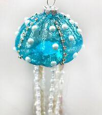 Aqua Blue Jellyfish Pearls Christmas Tree Ornament Ocean Seaside R5