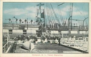 C-1915 Navy Signals Military Newport Rhode Island Postcard Patriotic 21-2028
