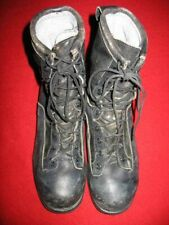 """WELLCO, MEN'S LEATHER & NYLON 9"""" BOOTS, SIZE: 9.5 WIDE, COLOR: BLACK, USED, VALU"""