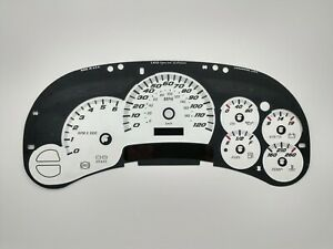 US Speedo White SS Gauge Face Overlay for GM Clusters 03-05 1500 Gas LED Edition