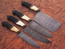 GladiatorsGuild Damascus Knife Kitchen Custom Professional 4pc Chef Knife Set 10