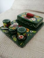 Vintage hand painted Green and roses Bargeware Butter dish & Condiment Set.