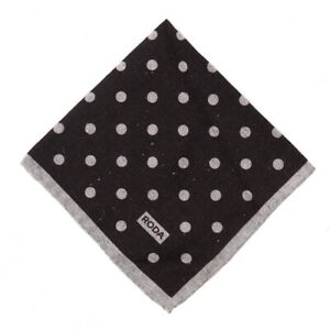 NWT RODA Dark Brown and Gray Dot Print Wool-Silk Pocket Square