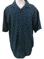 Saddlebred mens shirt Size XLT palm trees green blue polyester short sleeve