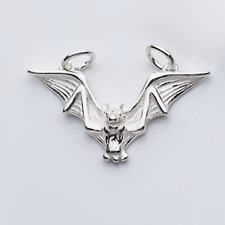 Quality Sterling Silver Flying Bat Gothic Feather Wing Charm Necklace Pendant