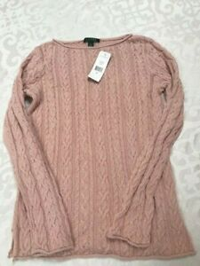 New with tags Ralph Lauren cotton rose pink sweater top women's size L $98