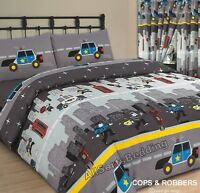 SINGLE BED DUVET COVER SET COPS & ROBBERS GREY CHILDREN'S KIDS BOYS POLICE CARS