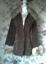Vtg suede fur sheepskin coat jacket hippy festival 70's