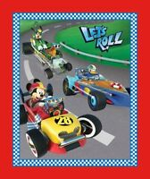 Disney Mickey Friends Let's Roll Race Car 100% Cotton Fabric by the panel