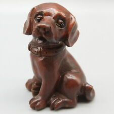 """CQ034-2/"""" Hand Carved Boxwood Figurine Carving Lovely Mouse and Peanut"""