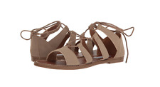 NEW STEVE MADDEN GABRIELA TAUPE SANDALS WOMENS 6.5 FLATS LACE UP FREE SHIP
