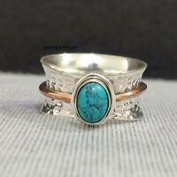 Turquoise Ring Solid 925 Sterling Silver Spinner Ring Handmade Ring Size N yy163