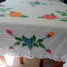 Vintage White Tablecloth with Liquid Embroidered Roses and Lace Edging 76 x 66
