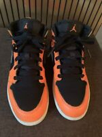 NIKE AIR JORDAN 1 RETRO MID YOUTH SIZE 2Y SNEAKERS BLACK ORANGE 640734-062