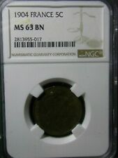 5 CENTIMES 1904 FRANCE NGC MS 63 BN