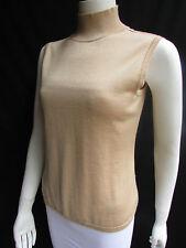 Bill Blass Women Beige Tan Cashmere Turtleneck Sleevless Sweater Casual Medium