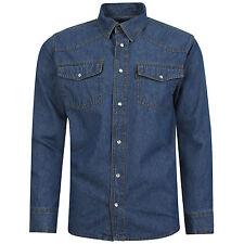 Mens Western Style Press Studs Poppers Pockets Denim Shirt Stonewash Black M-3XL