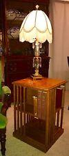 Vintage Oak Revolving Bookshelf, Revolving Chairside Bookcase, Rotating Bookcase
