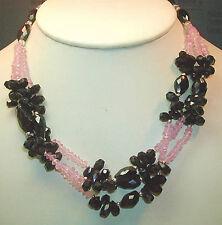 Statement Rose Quartz  Garnet Necklace Sterling 3 Strand Wedding Mother of Bride