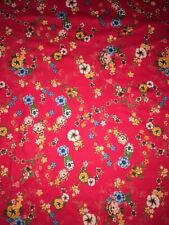 Stretch Cotton Jersey Knit Fabric Remnant 1.6m X 50cm Red Flower Print