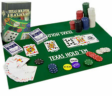 2 in 1 Texas Hold'em Poker & Blackjack Set Casino Game with Cards, Chips & Mat