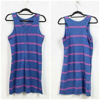 Lole Large Womens Blue Striped Sleeveless Tank Dress