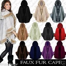 Ladies Women FAUX FUR PONCHO CAPE Trim Hooded Celeb Jacket Lush Wrap Coat 8-16