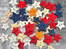 Vintage Lot of 50 Red White Blue Ivory and Butterscotch Star Buttons Novelty