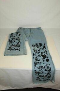 Women's Vintage Quick Jeans Flare Screen Print Black Sparkle Pattern Junior 9
